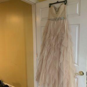 David's Bridal Champagne Prom Dress